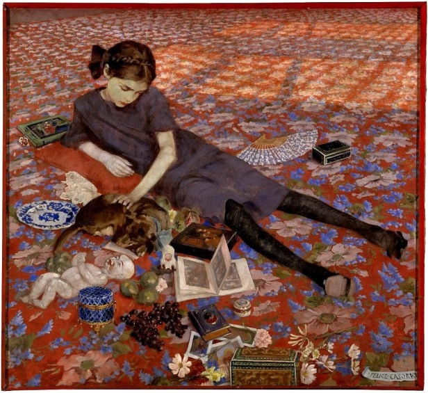 felice-casorati-ragazza-su-tappeto-rosso-1912