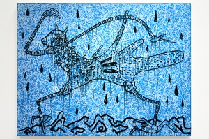 Haring Walking in the rain