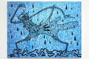 Haring Walking in the rain