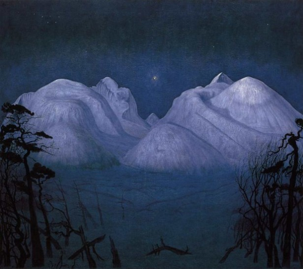 harald sohlberg winter night in the mountains