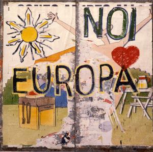 Rotella Noi-amiamo-Europa,-1987,-sovrapittura-su-lamiera-zincata,