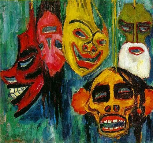 emil nolde mask-still-life-III-1911