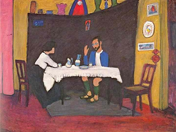 Munter kandinsky-and-erma-bossi-at-the-table-in-the-murnau-house-1912(1)