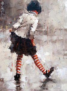 Kohn bambina nella pioggia