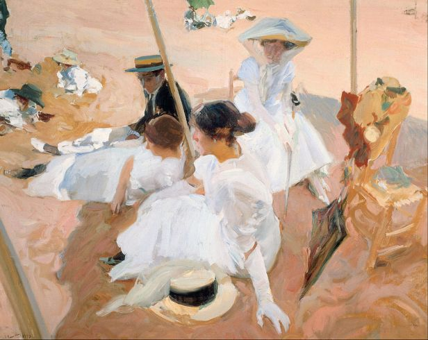 Joaquín_Sorolla_y_Bastida_-_Under_the_awning,_on_the_Beach_at_Zarauz