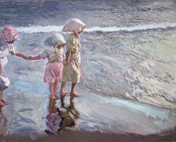 joaquin sorolla bambine in spiaggia