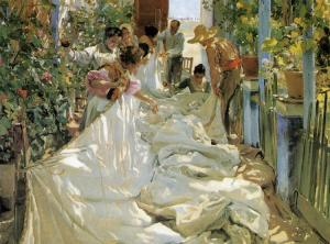 joaquin sorolla mending-the-sail-1896
