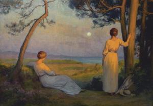Rieder ragazze sul lago al chiaro di luna