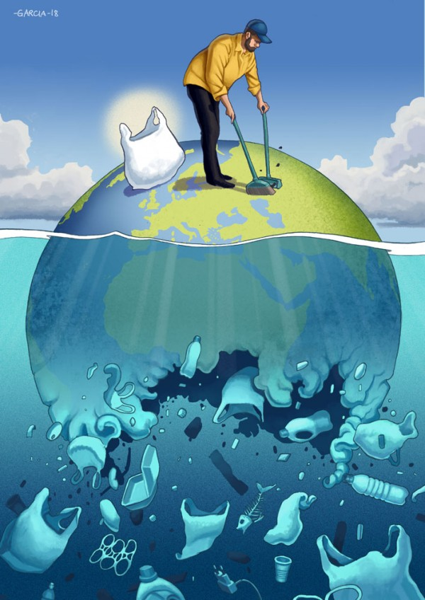 Daniel-Garcia-Art-Editorial-Illustration-Clean-the-Planet-Porto-Cartoon-Earth-Ocean-Sea-Garbage-Trash-Plastic-Bag-Man-Pollution-Island-600x848