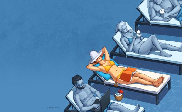 Daniel-Garcia-Art-Editorial-Illustration-CNet-Magazine-Summer-Holiday-Pool-Smartphone-Addiction-Relax-Girl-Bikini-011-600x370